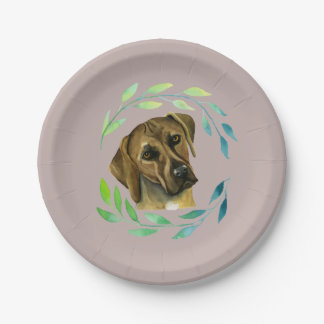 Rhodesian Ridgeback with a Wreath Watercolor 7 Inch Paper Plate