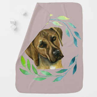 Rhodesian Ridgeback with a Wreath Watercolor Baby Blanket