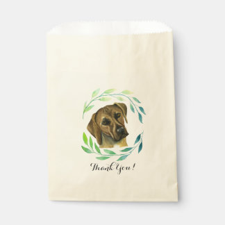 Rhodesian Ridgeback with a Wreath Watercolor Favour Bag