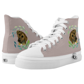 Rhodesian Ridgeback with a Wreath Watercolor High Tops
