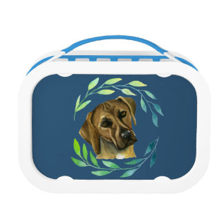 Rhodesian Ridgeback with a Wreath Watercolor Lunchboxes