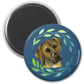 Rhodesian Ridgeback with a Wreath Watercolor Magnet