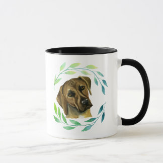 Rhodesian Ridgeback with a Wreath Watercolor Mug