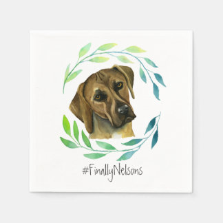Rhodesian Ridgeback with a Wreath Watercolor Paper Serviettes