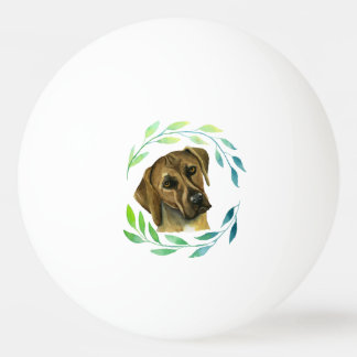 Rhodesian Ridgeback with a Wreath Watercolor Ping Pong Ball