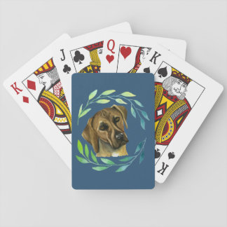 Rhodesian Ridgeback with a Wreath Watercolor Playing Cards