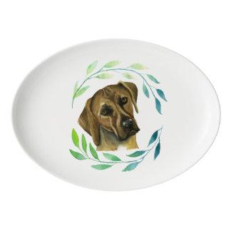 Rhodesian Ridgeback with a Wreath Watercolor Porcelain Serving Platter
