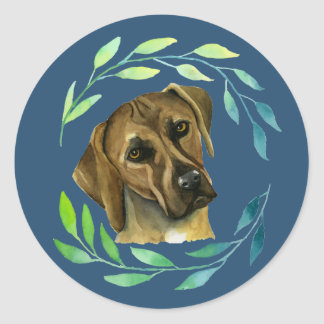 Rhodesian Ridgeback with a Wreath Watercolor Round Sticker