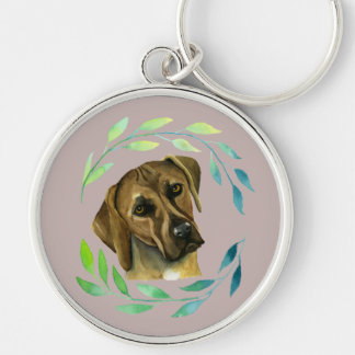 Rhodesian Ridgeback with a Wreath Watercolor Silver-Colored Round Key Ring
