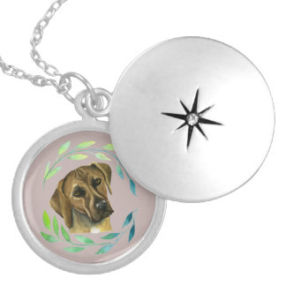 Rhodesian Ridgeback with a Wreath Watercolor Silver Plated Necklace