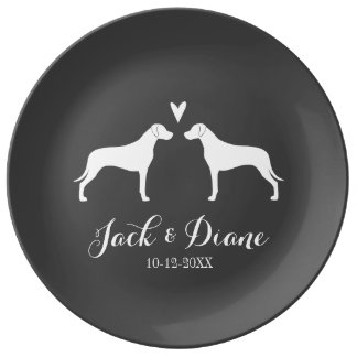 Rhodesian Ridgebacks with Heart and Text Porcelain Plates