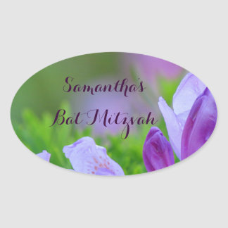 Rhododendron After the Rain Bat Mitzvah Oval Sticker