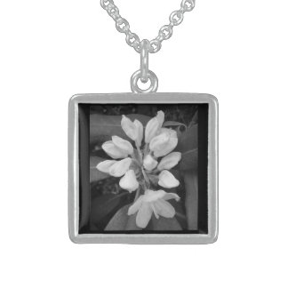 Rhododendron Mountain Laurel in Black and White Sterling Silver Necklace