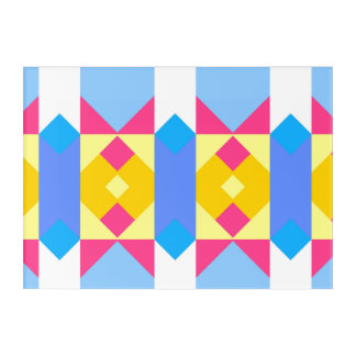 Rhombus and other shapes abstract design acrylic wall art