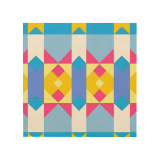 Rhombus and other shapes abstract design wood canvases
