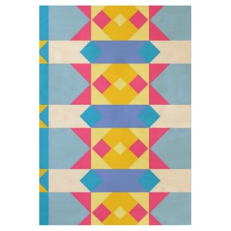 Rhombus and other shapes abstract design wood poster