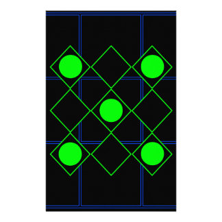 Rhombus green lines with green circles stationery paper