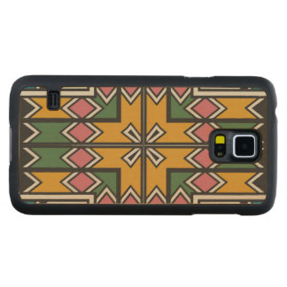 Rhombus squares and a cross carved maple galaxy s5 case