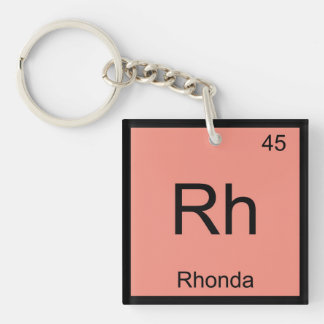Rhonda Name Chemistry Element Periodic Table Single-Sided Square Acrylic Key Ring