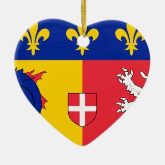 Rhone-Alpes Flag Ceramic Heart Decoration