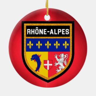 Rhône-Alpes Flag Round Ceramic Decoration