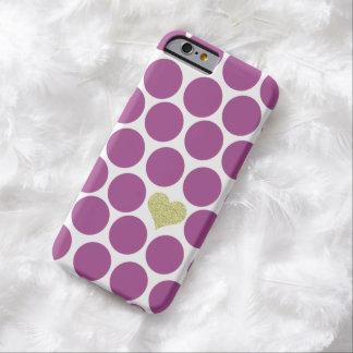 Rhubarb Purple Polka Dots Glitter Heart iPhone Barely There iPhone 6 Case