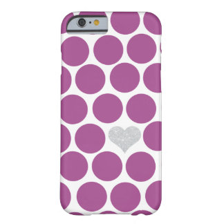 Rhubarb Purple Polka Dots Silver Heart iPhone Barely There iPhone 6 Case
