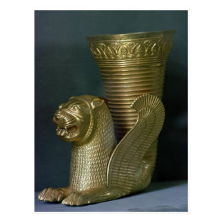 Rhyton in the shape of a seated lion-monster postcard