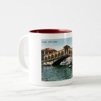 Rialto Bridge, Venice, Italy, Vintage Two-Tone Coffee Mug