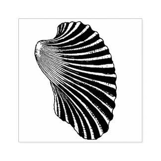 Ribbed Clam Shell Illustration Rubber Stamp