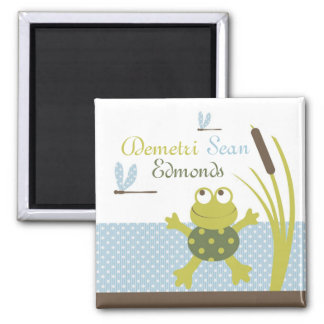 Ribbit Frog and Dragonfly Square Magnet