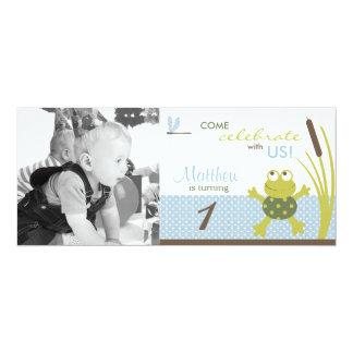 Ribbit Swimming Frog Photo Template Birthday 10 Cm X 24 Cm Invitation Card