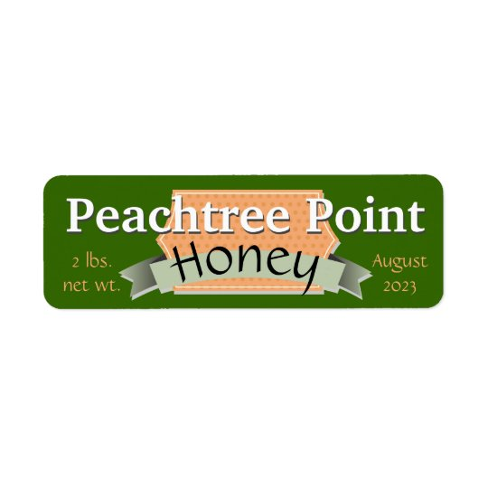 Ribbon and Banner Personalised Honey Jar Return Address Label