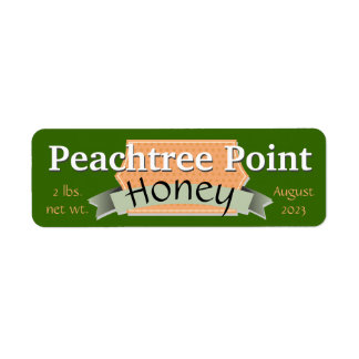 Ribbon and Banner Personalized Honey Jar Return Address Label