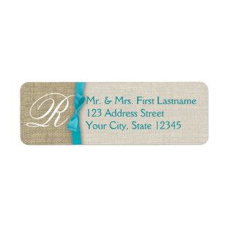 Ribbon and Burlap Blue Monogram Return Address Label