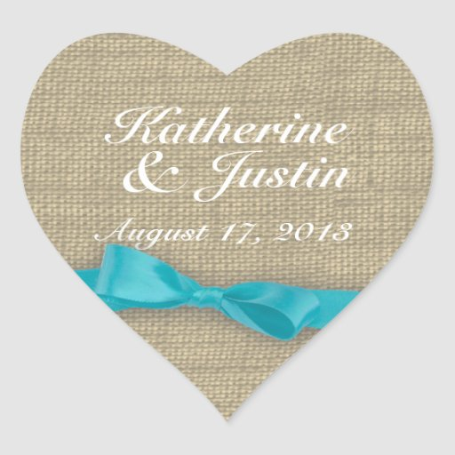 Ribbon and Burlap Heart Stickers