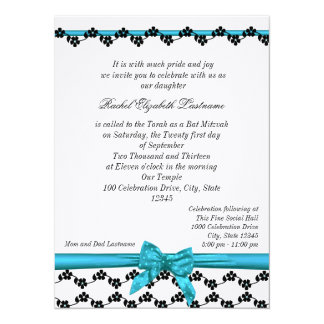 Ribbon and Flowers Bat Mitzvah 14 Cm X 19 Cm Invitation Card
