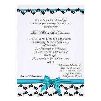 Ribbon and Flowers Bat Mitzvah Custom Invite