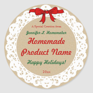 Ribbon and Lace Old Fashioned Homemade Product Classic Round Sticker