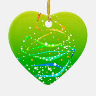 Ribbon and Star Christmas Tree Ceramic Ornament