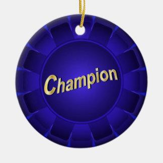 Ribbon Blue Champion to Customize Round Ceramic Decoration