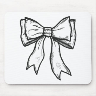 Ribbon bow black and white drawing mouse pad