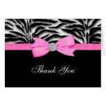 Ribbon Bow Hot Pink Zebra Thank You Cards