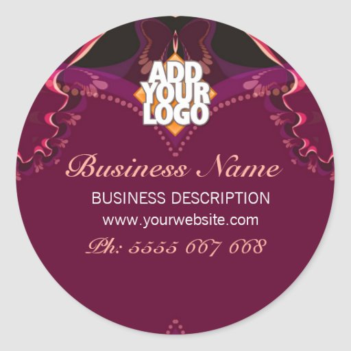 Ribbon Butterfly Goddess New Age w/ Logo Business  Round Stickers