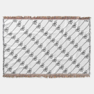 Ribbon Gift Bow Vintage Engraved Etching Woodcut Throw Blanket