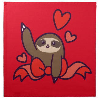 Ribbon Heart Sloth Napkin