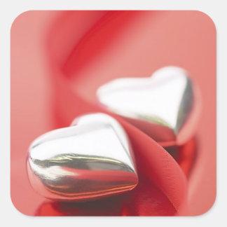 Ribbon Hearts Square Sticker