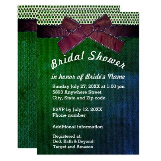Ribbon, Lace, Green & Blue Burlap Bridal Shower Card