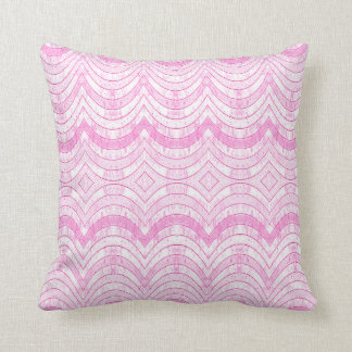 RIBBON PATTERN PILLOW, Distressed Pink Print Cushion