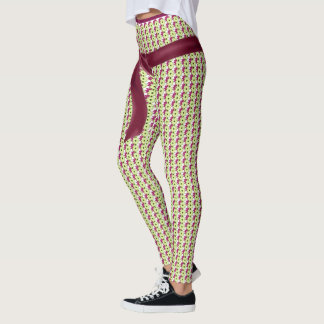 RIBBON-RED-MOD-GREEN-PATTERN--LEGGING'S_XS-XL LEGGINGS